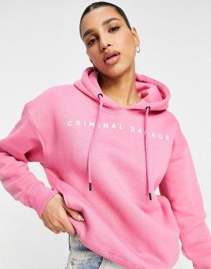 Худи розового цвета в стиле oversized -Розовый цвет Criminal Damage