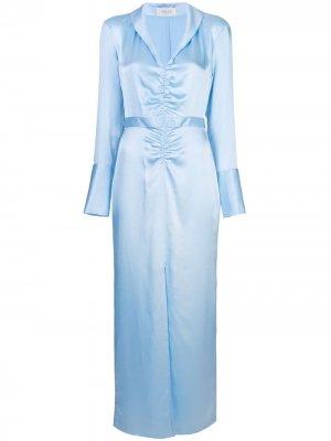 Платье со сборкой спереди Arias. Цвет: синий