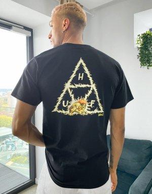 Черная футболка с тремя треугольниками x Street Fighter II Blanka-Черный HUF