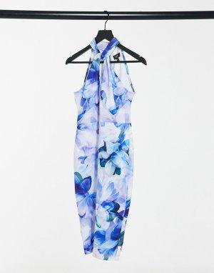 Синее платье миди с халтером и принтом -Многоцветный Lipsy