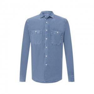 Хлопковая рубашка Aspesi. Цвет: синий