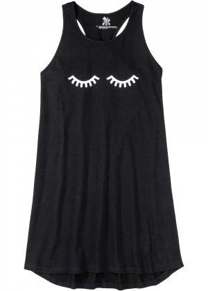 Ночная рубашка со спортивной спинкой bonprix. Цвет: черный
