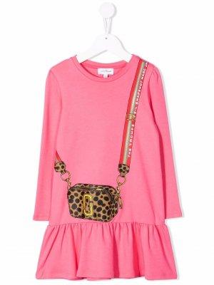 Расклешенное платье с графичным принтом The Marc Jacobs Kids. Цвет: розовый