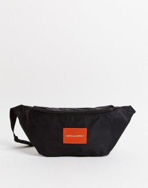 Черная сумка-кошелек на пояс с оранжевым логотипом -Черный цвет ASOS DESIGN