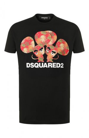 Хлопковая футболка Dsquared2. Цвет: черный