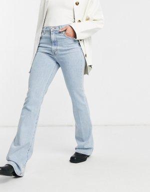 Светло-голубые выбеленные джинсы облегающего кроя с завышенной талией и легким клешем ниже колена -Голубой J Brand