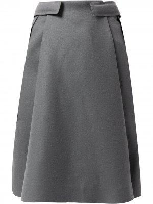 Шерстяная юбка А-силуэта Balenciaga Pre-Owned. Цвет: серый