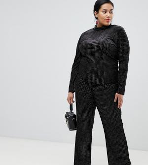 Расклешенные бархатные брюки в горошек -Черный Glamorous Curve