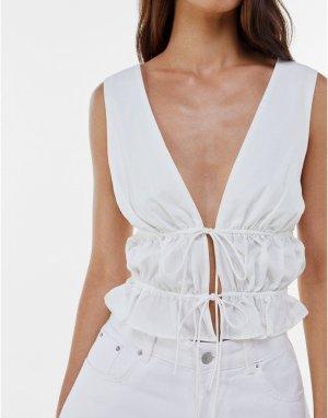 Белая блузка с V-образным вырезом и завязками -Белый Bershka