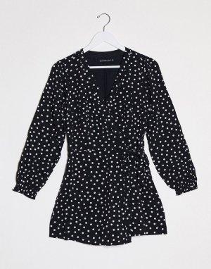 Платье в горошек с запахом -Черный Abercrombie & Fitch