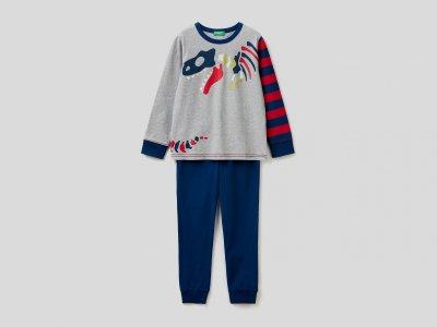 Пижама с принтом Benetton. Цвет: серый