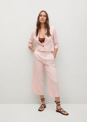 Укороченный пиджак из лиоцелла - Sastre Mango. Цвет: пастельно-розовый
