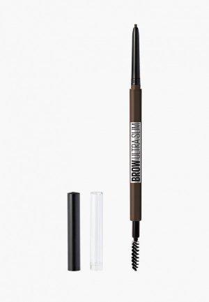 Карандаш для бровей Maybelline New York Brow Ultra Slim, + щеточка, оттенок 06, Темно-коричневый, 1 г. Цвет: коричневый