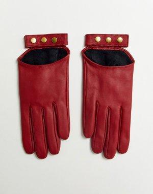 Красные кожаные перчатки для сенсорных экранов -Красный ASOS DESIGN