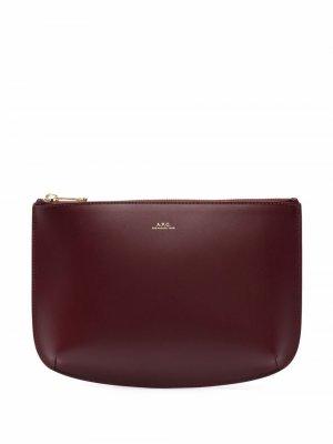 Leather clutch bag A.P.C.. Цвет: красный