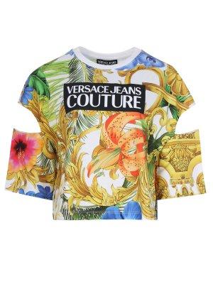 Хлопковая футболка с цветами VERSACE JEANS COUTURE