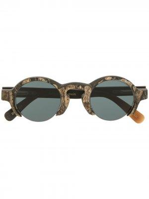 Солнцезащитные очки в круглой оправе Rigards. Цвет: коричневый