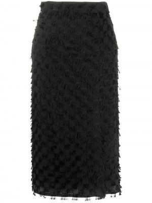 Юбка миди с бахромой MSGM. Цвет: черный