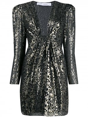 Платье с эффектом металлик IRO. Цвет: черный