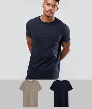 2 удлиненных футболки ASOS DESIGN. Цвет: мульти