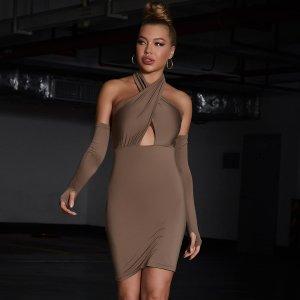 Облегающее платье с рукавами и отверстие для большого пальца SHEIN. Цвет: кофейный коричневый