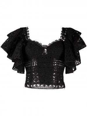 Укороченный топ с английской вышивкой Charo Ruiz Ibiza. Цвет: черный