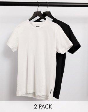 Набор из 2 футболок с круглым вырезом черного и белого цвета -Многоцветный French Connection