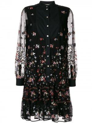 Платье-туника с вышивкой Tory Burch. Цвет: разноцветный