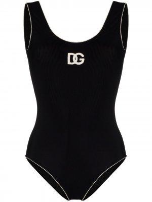 Купальник с логотипом Dolce & Gabbana. Цвет: черный