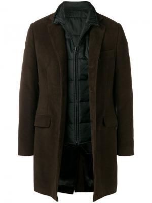 Пальто с жилетом Fay. Цвет: коричневый