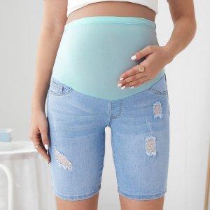 Рваные джинсовые шорты для беременных SHEIN. Цвет: многоцветный