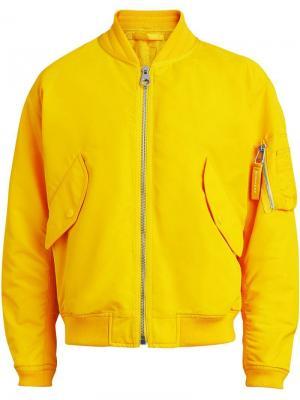 Куртка-бомбер на молнии Burberry. Цвет: желтый