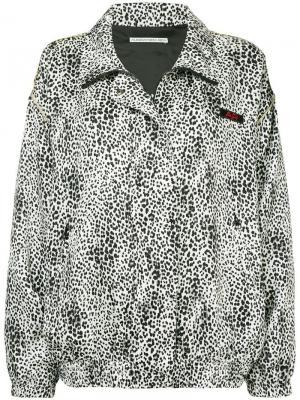 Куртка-бомбер с леопардовым узором Alessandra Rich. Цвет: коричневый