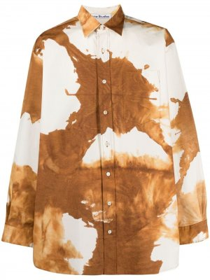 Рубашка оверсайз с принтом тай-дай Acne Studios. Цвет: нейтральные цвета