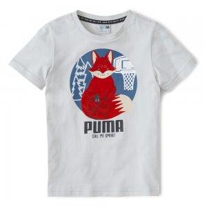 Детская футболка Animals Suede Tee PUMA. Цвет: серый