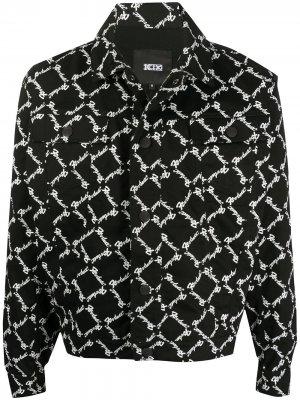 Джинсовая куртка с узором KTZ. Цвет: черный