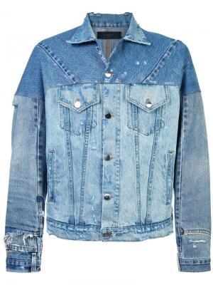 Джинсовая куртка с эффектом потертости Amiri. Цвет: синий