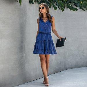 Синие Оборка Одноцветный Повседневный Платья SHEIN. Цвет: синий