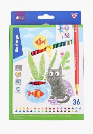 Набор карандашей Berlingo цветных SuperSoft. Жил-был кот, 36 цветов, трехгранные. Цвет: разноцветный