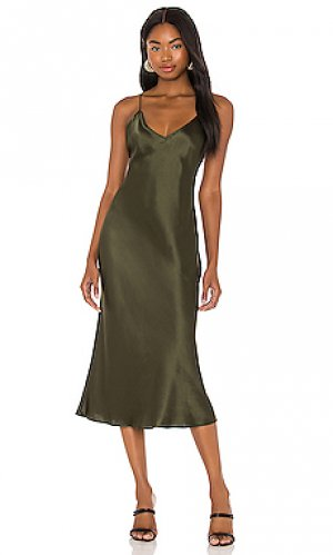 Платье миди holley Amanda Uprichard. Цвет: оливковый