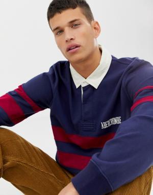 Темно-синее поло с длинными рукавами и логотипом Abercrombie & Fitch. Цвет: темно-синий