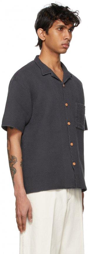 Black Waffle Short Sleeve Shirt Kuro. Цвет: black