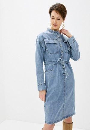 Платье джинсовое Miss Gabby. Цвет: голубой