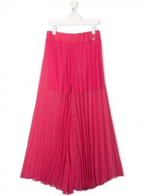 Плиссированные брюки широкого кроя Miss Blumarine. Цвет: розовый