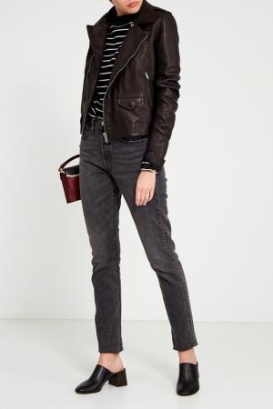 Черная кожаная куртка с карманами Rick Owens. Цвет: черный