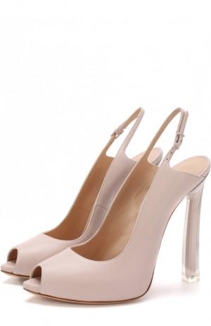 Кожаные туфли на шпильке Blade Casadei. Цвет: светло-розовый