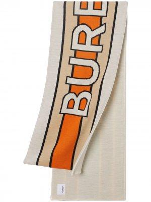 Жаккардовый шарф с логотипом Burberry Kids. Цвет: bright clementine