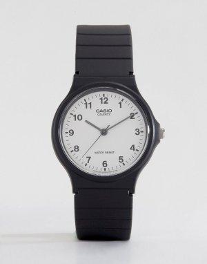 Аналоговые часы в стиле унисекс с резиновым ремешком MQ-24-7BLL-Черный цвет Casio