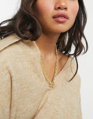 Золотистое ожерелье-чокер -Золотистый Nylon