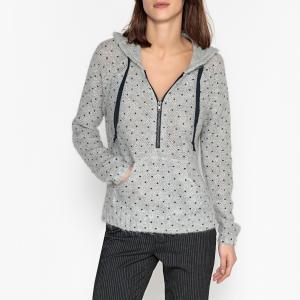 Пуловер с капюшоном из трикотажа в горошек LOBA LEON AND HARPER. Цвет: серый